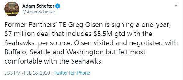 Seattle Seahawks sign Greg Olsen 1